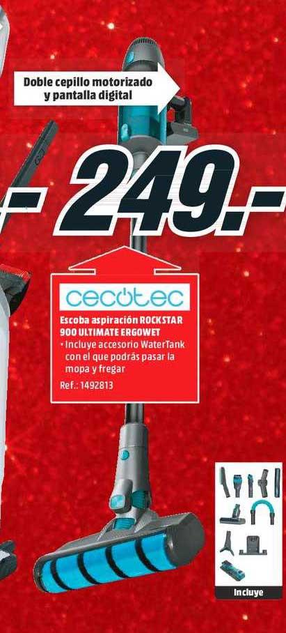 MediaMarkt Cecotec Escoba Aspiración Rockstar 900 Ultimate Ergowet