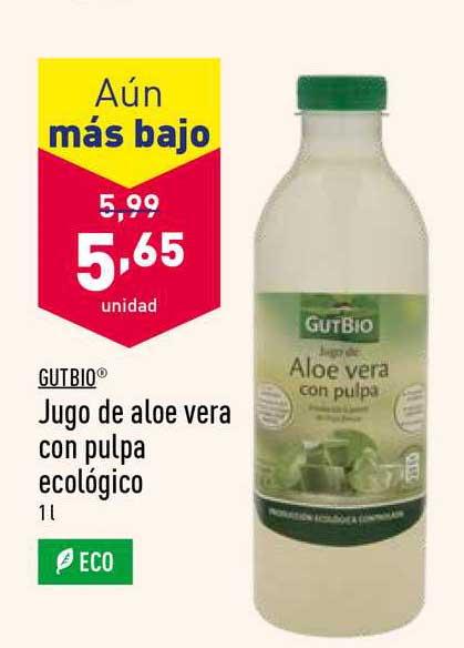 ALDI Aún Más Bajo Gutbio Jugo De Aloe Vera Con Pulpa Ecológico
