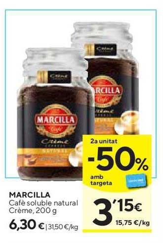 Caprabo 2ª Unitat -50% Amb Targeta Marcilla Café Soluble Natural Crème, 200 G