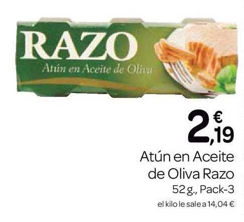 Supermercados El Jamón Atún En Aceite De Oliva Razo 52g., Pack-3