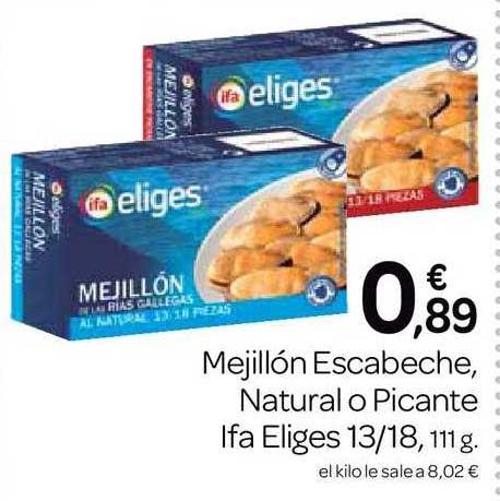 Supermercados El Jamón Mejillón Escabeche, Natural O Picante Ifa Eliges 13∕18, 111 G.