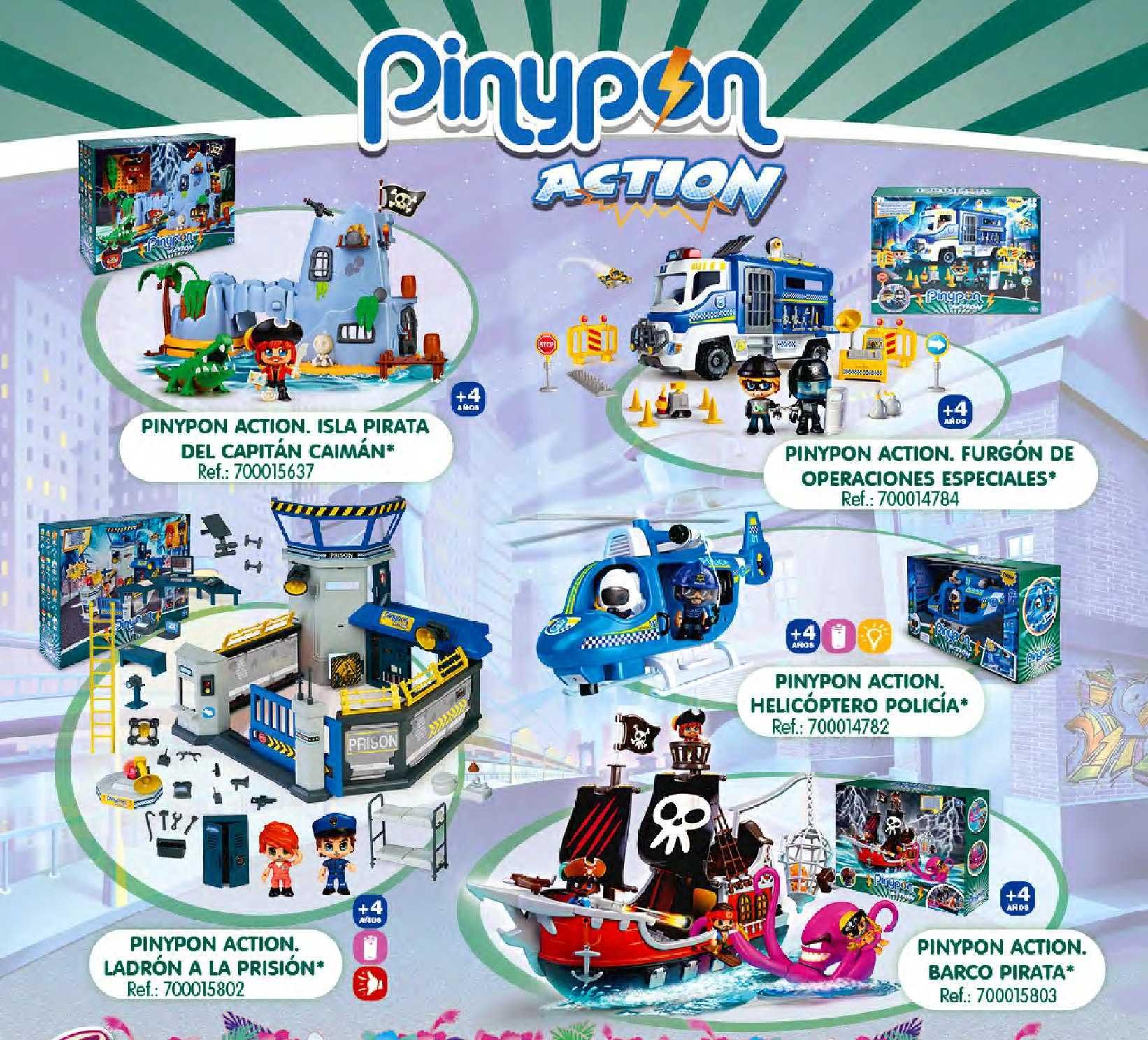 Juguetilandia Pinypon Action: Isla Pirata Del Capitán Caimán, Furgón De Operaciones Especiales, Helicóptero Policía, Barco Pirata, Ladrón A La Prisión