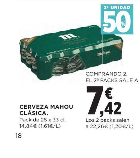 Hipercor 2ª Unidad -50% Cerveza Mahou Clásica