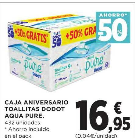 Hipercor Ahorro -50% Caja Aniversario Toallitas Dodot Aqua Pure