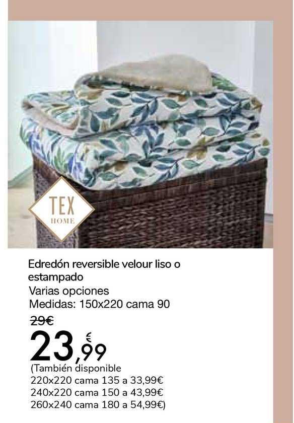 Carrefour Edredón Reversible Velour Liso O Estampado Tex Home