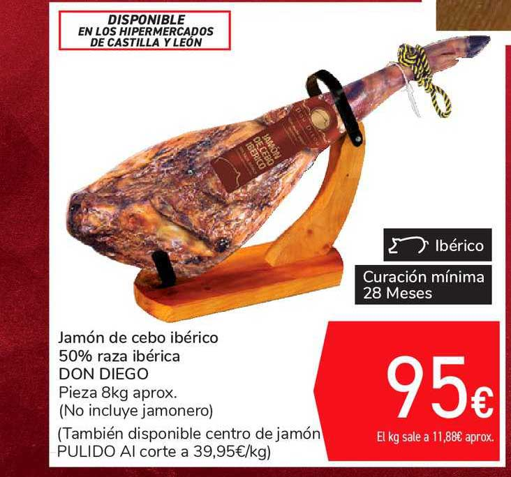 Carrefour Jamón De Cebo Ibérico 50% Raza Ibérica Don Diego