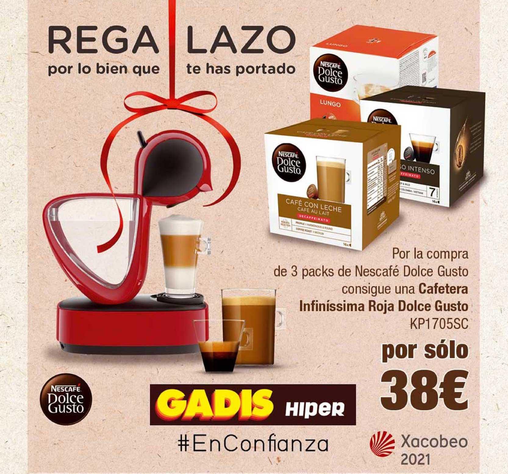 Gadis Regalazo Por La Compra De 3 Packs De Nescafé Dolce Gusto Consigue Una Cafetera Infinissima Roja Dolce Gusto Kp1705sc
