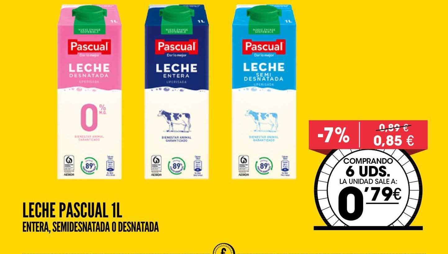 AhorraMas -7% Leche Pascual 1L Entera, Semidesnatada O Desnatada