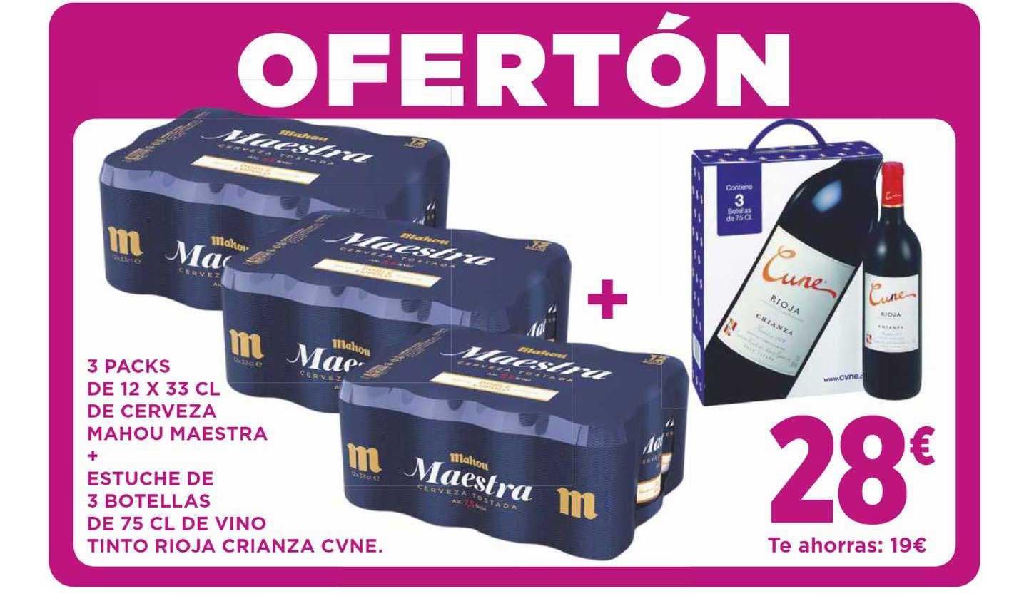 Supercor Ofertón 3 Packs De 12 X 33 Cl De Cerveza Mahou Maestra + Estuche De 3 Botellas De 75 Cl De Vino Tinto Rioja Crianza Cune