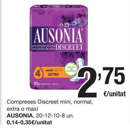 SPAR Fragadis Compreses Discreet Mini, Normal, Extra O Maxi Ausonia
