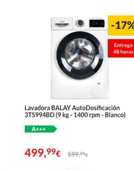 Worten -17% Lavadora BALAY AutoDosificación 3TS994BD (9 Kg - 1400 Rpm - Blanco)
