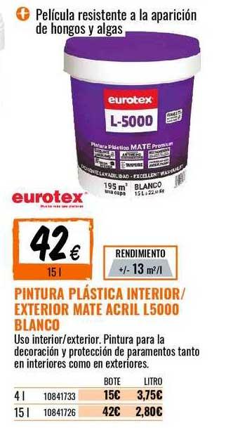 Bricomart Pintura Plástica Interior ∕ Exterior Mate Acril L5000 Blanco