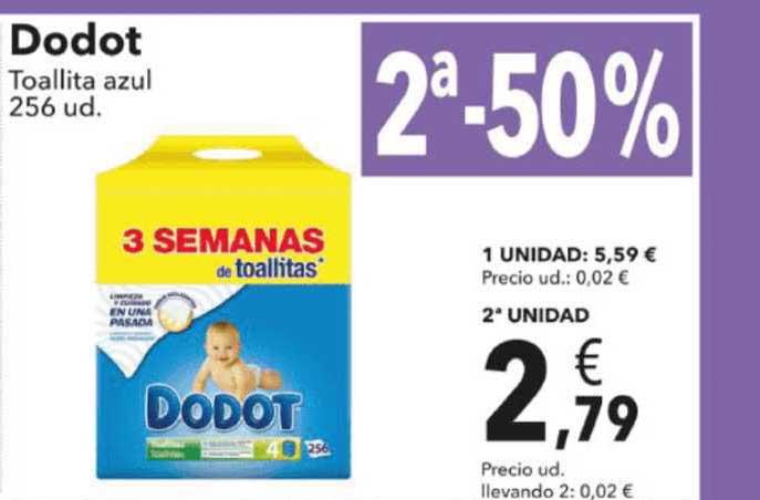 Clarel 2ª-50% Dodot Toallita Azul 256 Ud.