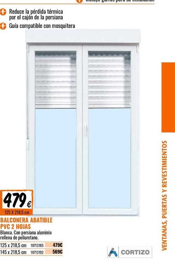 Bricomart Balconera Abatible PVC 2 Hojas
