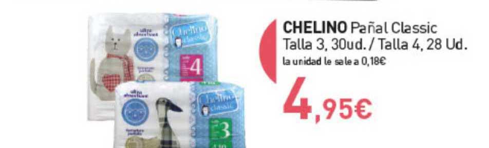 Primaprix Chelino Pañal Classic Talla 3, 30ud. ∕ Talla 4, 28ud.