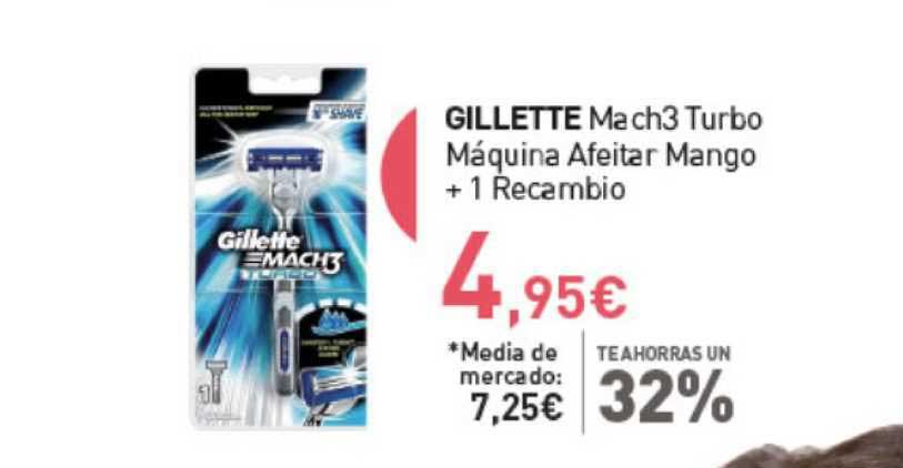 Primaprix Gillette Mach3 Turbo Máquina Afeitar Mango + 1 Recambio