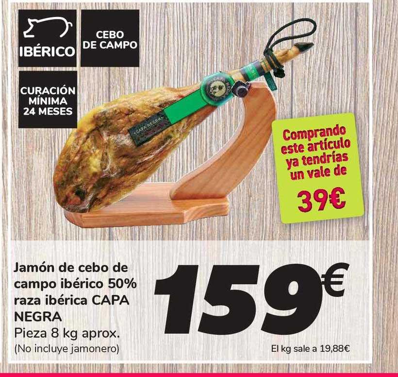 Carrefour Jamón De Cebo Ibérico 50% Raza Ibérica Capa Negra