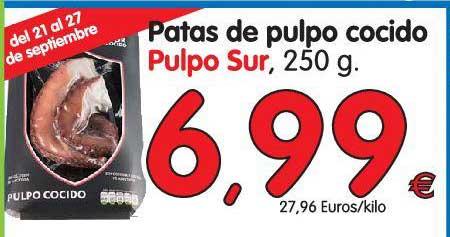 Alimerka Patas De Pulpo Cocido Pulpo Sur, 250 G.