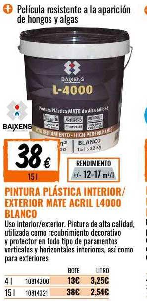 Bricomart Pintura Plástica Interior ∕ Exterior Mate Acril L4000 Blanco