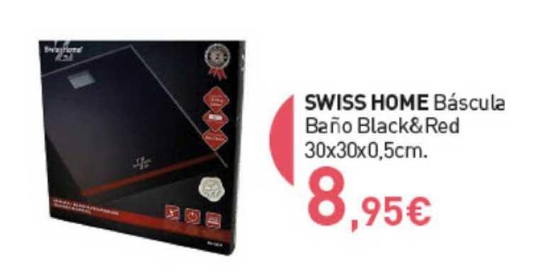 Primaprix Swiss Home Báscula Baño Black&Red 30x30x0,5cm.
