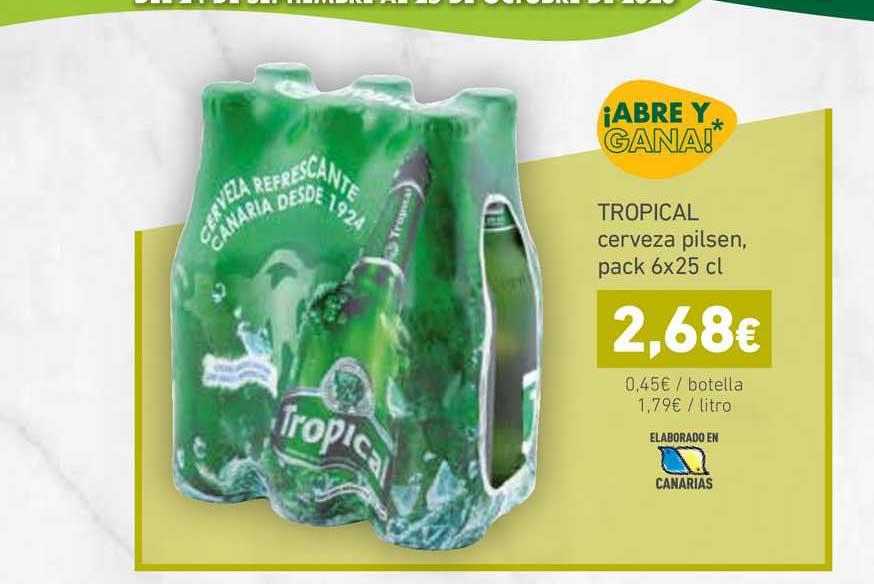 HiperDino Tropical Cerveza Pilsen, 6x25 Cl