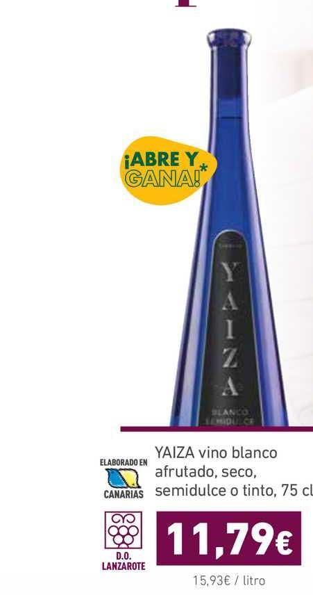 HiperDino Yaiza Vino Blanco Afrutado, Seco, Semidulce O Tinto, 75 Cl