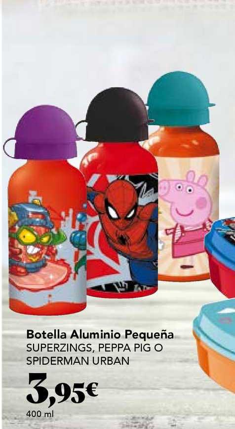 Gadis Botella Aluminio Pequeña Superzings Peppa Pig O Spiderman Urban