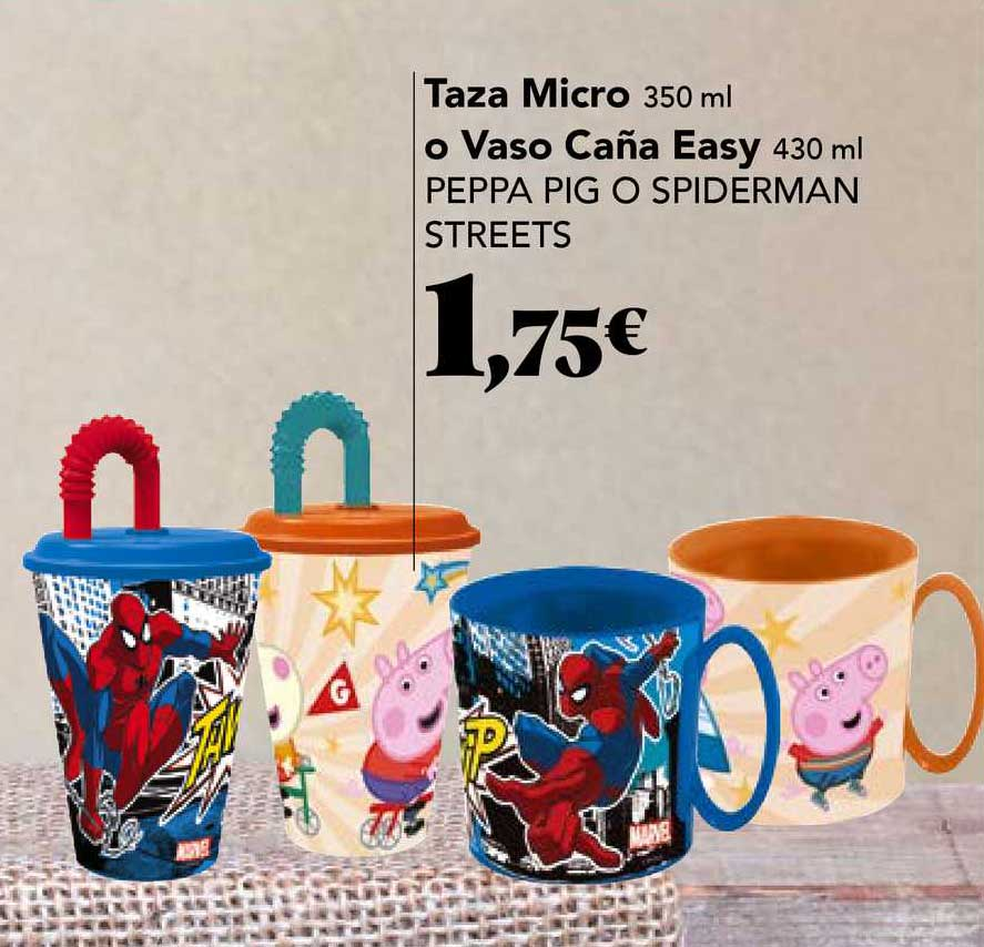 Gadis Taza Micro O Vaso Caña Easy Pappe Pig O Spiderman Streets