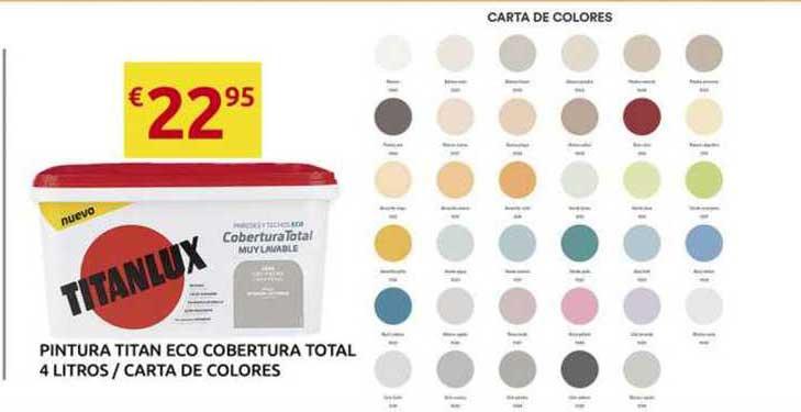 King Hogar Pintura Titan Eco Cobertura Total 4 Litros Carta De Colores Titanlux