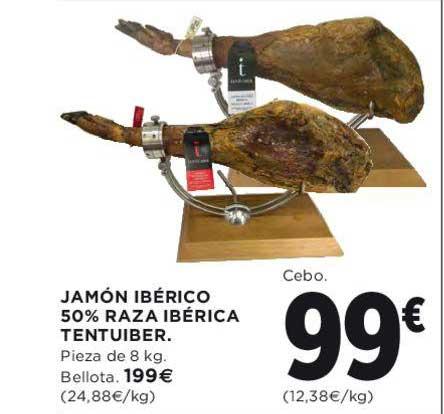 Hipercor Jamón Ibérico 50% Raza Ibérica Tentuiber Pieza De 8 Kg