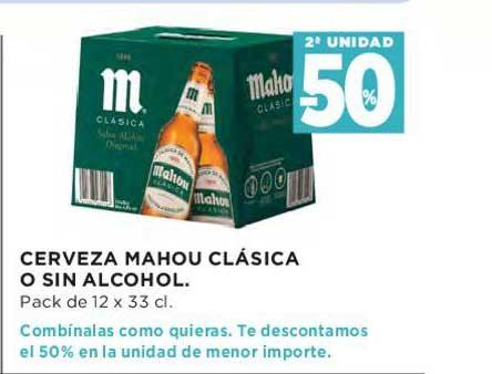Hipercor 2ª Unidad -50% Cerveza Mahou Clásica O Sin Alcohol Pack De 12 X 33 Cl