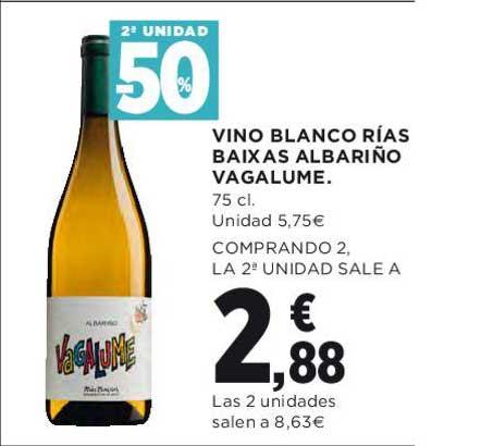 Hipercor 2ª Unidad -50% Vino Blanco Rías Baixas Albariño Vagalume 75 Cl