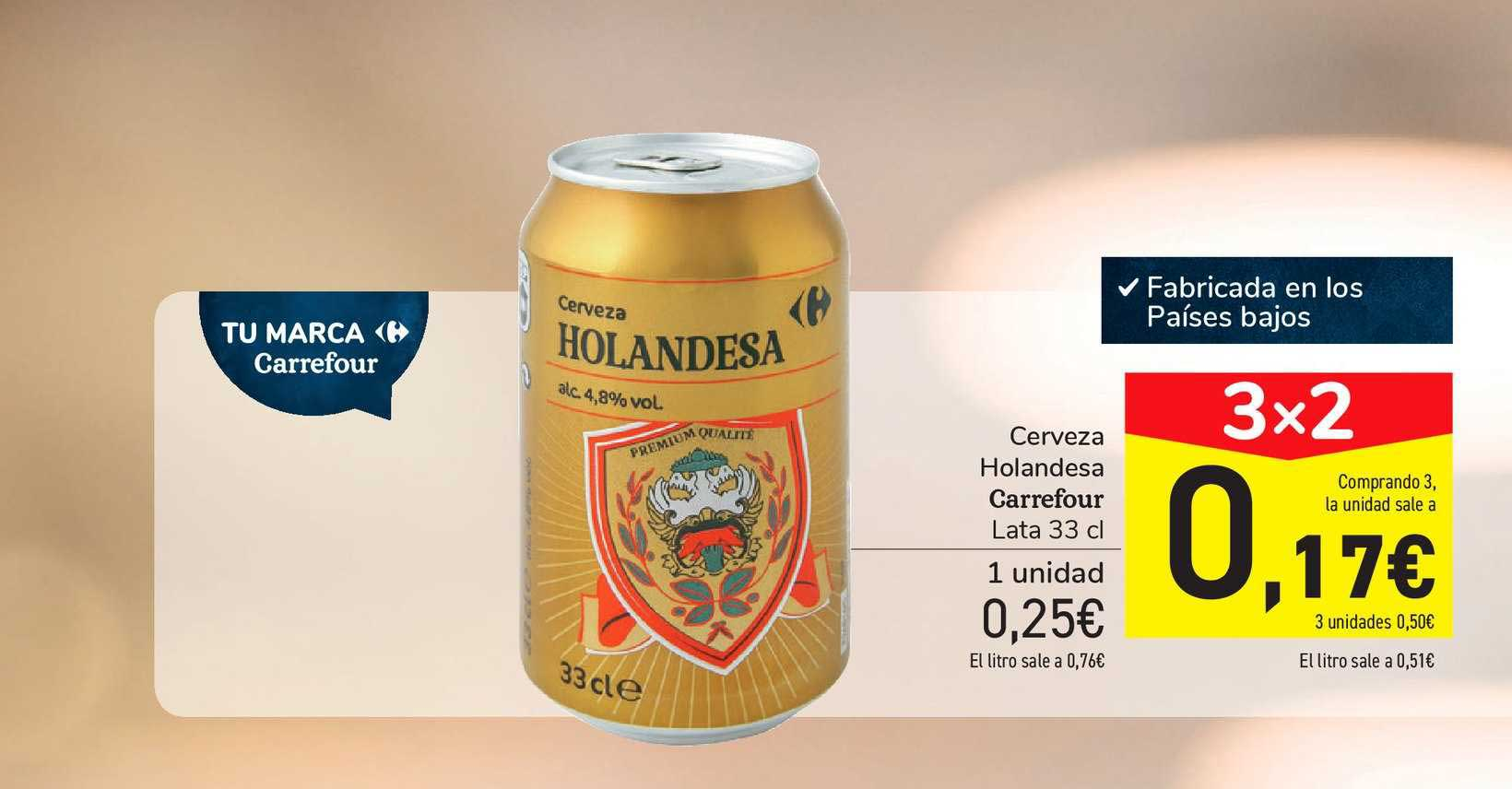 Carrefour 3x2 Cerveza Holandesa Carrefour Lata 33 Cl