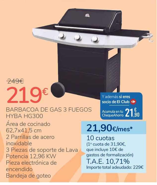 Carrefour Barbacoa De Gas 3 Fuegos Hyba Hg300