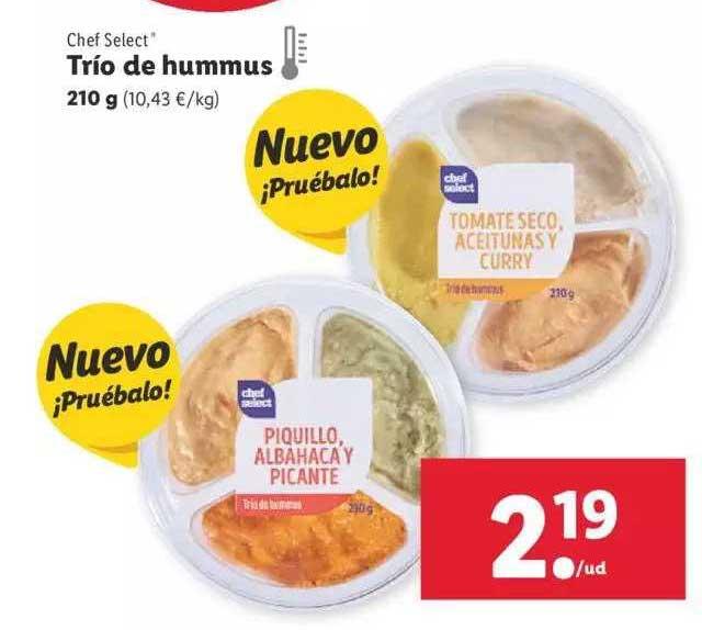 LIDL Chef Select Trio De Hummus 210 G