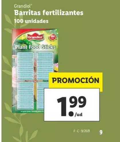 LIDL Grandiol Barritas Fertilizante 100 Unidades