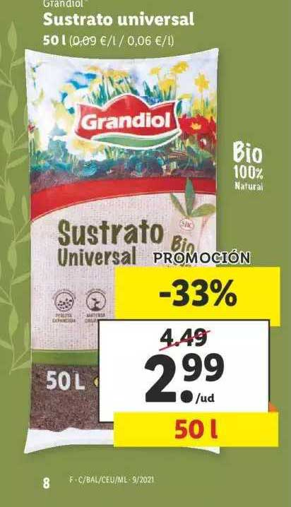 LIDL Promoción -33% Grandiol Sustrato Universal 50l