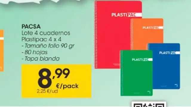 EROSKI Pacsa Lote 4 Cuadernos Plastipac 4 X 4