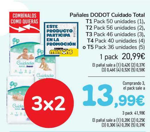 Carrefour Pañales Dodot Cuidado Total T1, T2, T3, T4 O T5