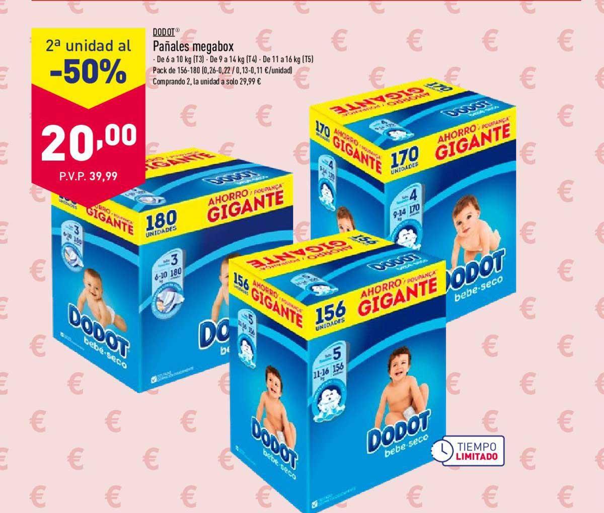 ALDI 2ª Unidad Al -50% Dodot Pañales Megabox