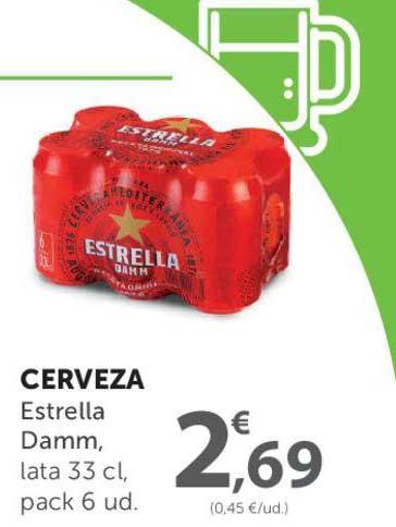 SPAR Cerveza Estrella Damm, Lata 33 Cl, Pack 6 Ud.