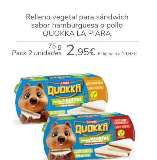 Carrefour Relleno Vegetal Para Súndwich Sabor Hamburguesa O Pollo Quokka La Piara