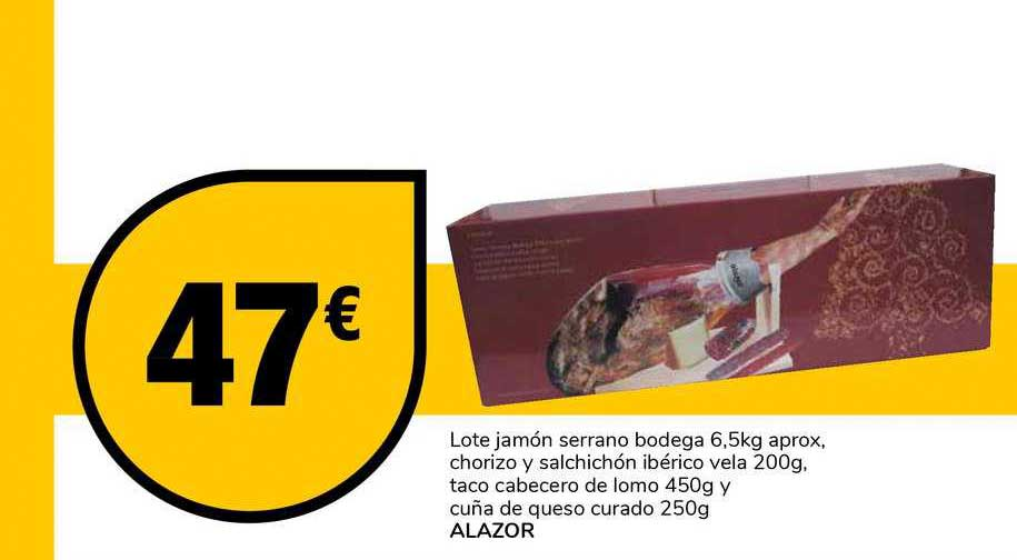Supeco Lote Jamón Serrano Bodega Chorizo Y Salchichón Ibérico Vela Taco Cabecero De Lomo Cuña De Queso Curado Alazor