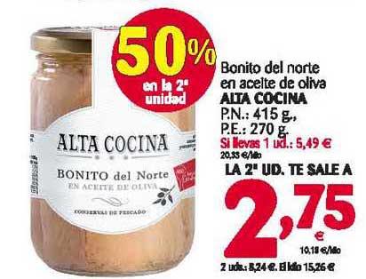 Alimerka 50% En La 2ª Unidad Bonito Del Norte En Aceite De Oliva Alta Cocina