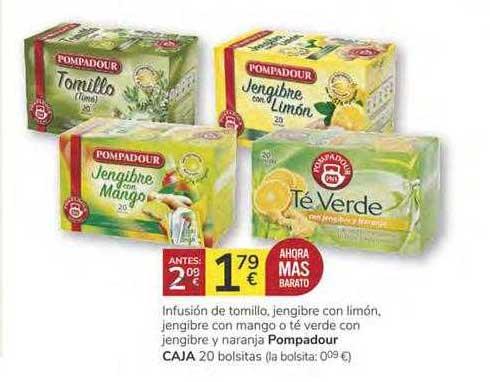 Consum Infusión De Tomillo, Jengibre Con Limón, Jengibre Con Mango O Té Verde Con Jengibre Y Naranja Pompadour Caja 20 Bolsitas