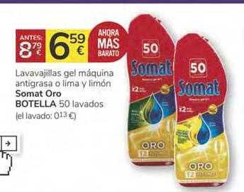 Oferta Lavavajillas Gel Máquina Antigrasa O Lima Y Limón Somat Oro Botella 50 Lavados En Consum