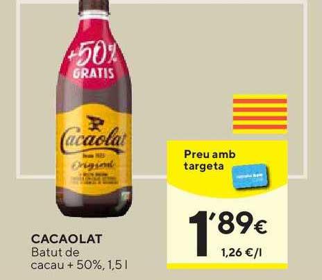 Caprabo Cacaolat Batut De Cacao + 50%