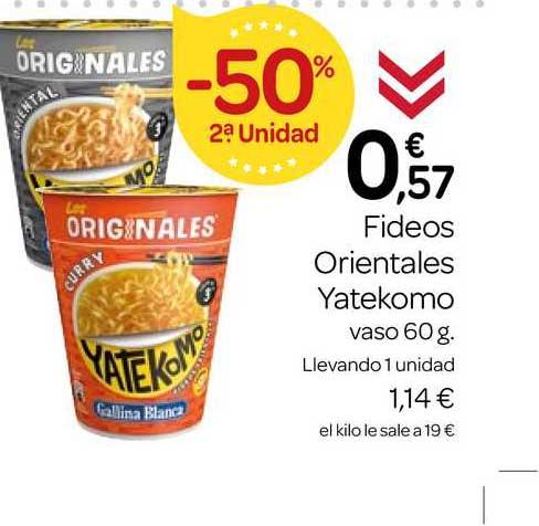 Supermercados El Jamón -50% 2ạ Unidad Fideos Orientales Yatekomo 60g