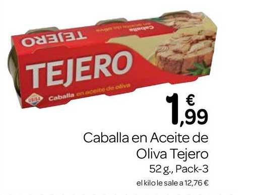 Supermercados El Jamón Caballa En Aceite De Oliva Tejero 52 G., Pack-3