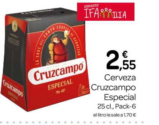 Supermercados El Jamón Cerveza Cruzcampo Especial 25cl., Pack-6